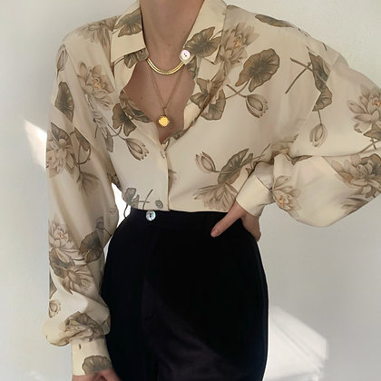 Vintage Ivory Silk Floral Button Up Blouse