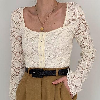 Vintage Cream Lacy Romantic Blouse