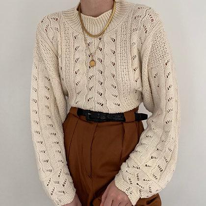 Vintage Cream Pointelle Knit Sweater