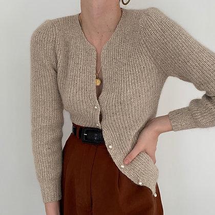 Vintage Sand Silk Angora Knit Cardigan