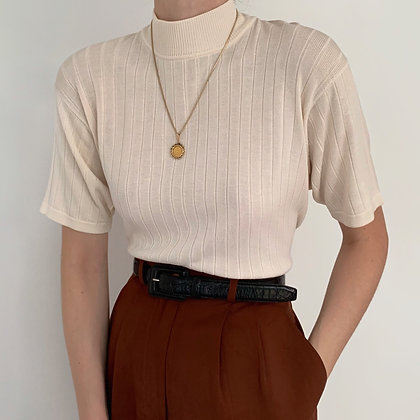 Vintage Cream Silk Ribbed Knit Mock Neck