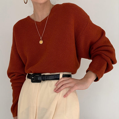 Vintage Rust Knit Pullover Sweater