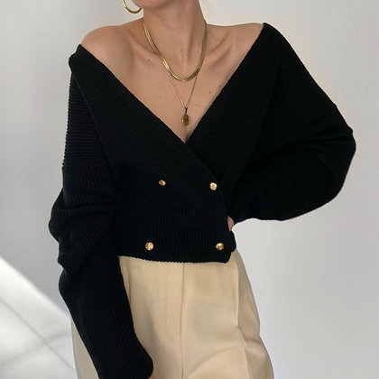Vintage Noir Double-Breasted Knit Sweater