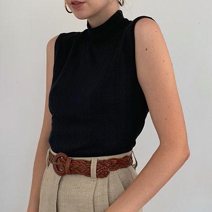 Vintage Black Silk Sleeveless Mock Neck