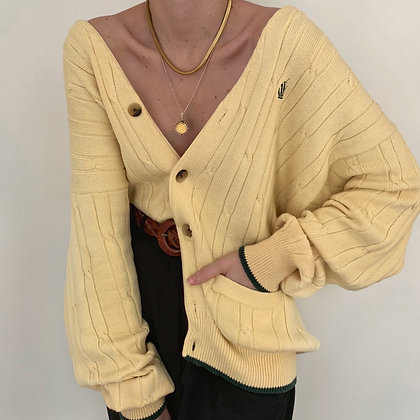Vintage Daffodil Cable Knit Cardigan