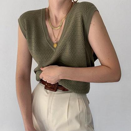 Vintage Sage Textured V-Neck Knit Vest