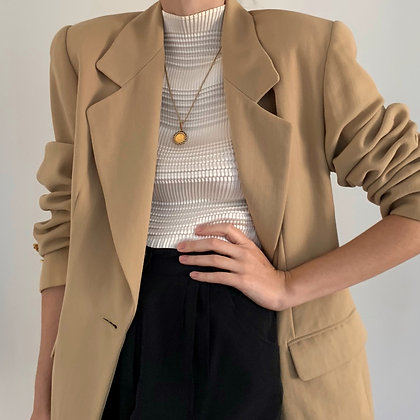 Vintage Camel Wool Blazer with Gold Buttons