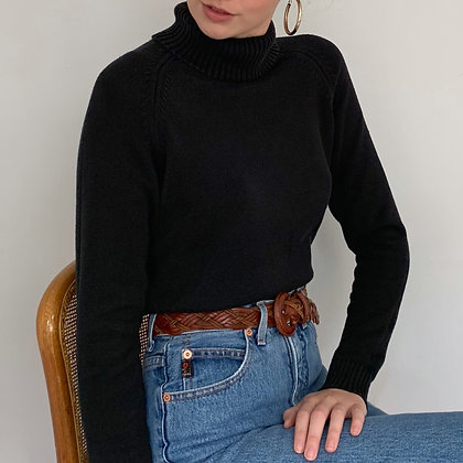Vintage Black Silk Blend Knit Turtleneck