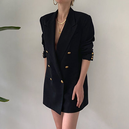 Vintage Onyx Wool Double-Breasted Blazer