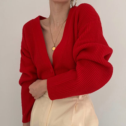 Vintage Poppy Red Chunky Knit Cardigan