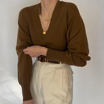 Vintage Saks Walnut Cashmere Knit Sweater