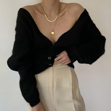 Vintage Onyx Mohair Knit Cardigan Sweater
