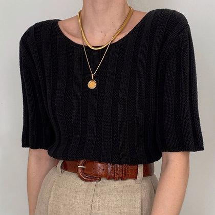 Vintage Ebony Wide Ribbed Knit Shirt