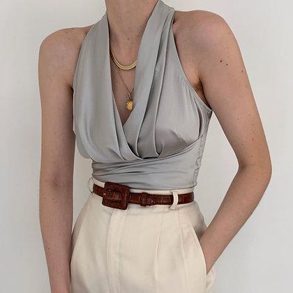 Vintage Silver Silk Pleated Wrap Tie Blouse