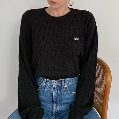 Vintage Black Lacoste Cable Knit Pullover