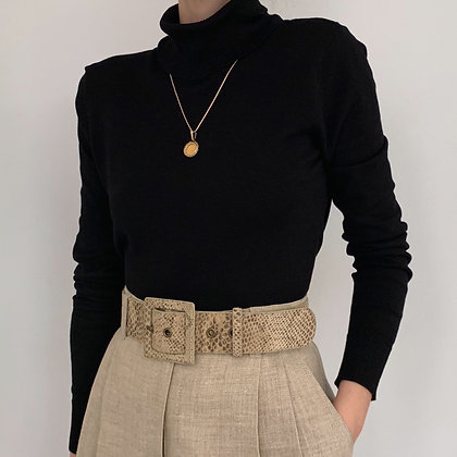 Vintage Black Silk Blend Turtleneck + Snakeskin Belt