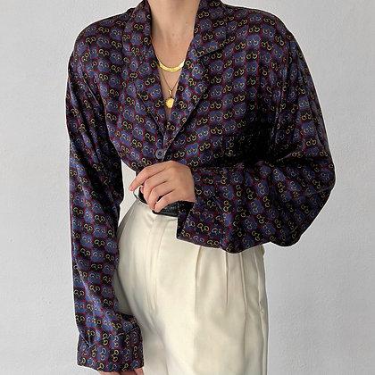 Vintage Christian Dior Horsebit Print Silk Top
