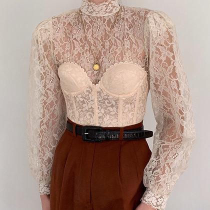 Vintage Cream Lace Bishop Sleeve Blouse