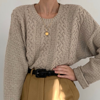 Vintage Taupe Cable Knit Sweater