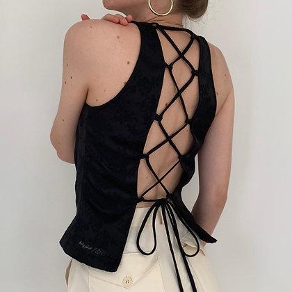 Favorite Vintage Noir Floral Satin Tie Back Top