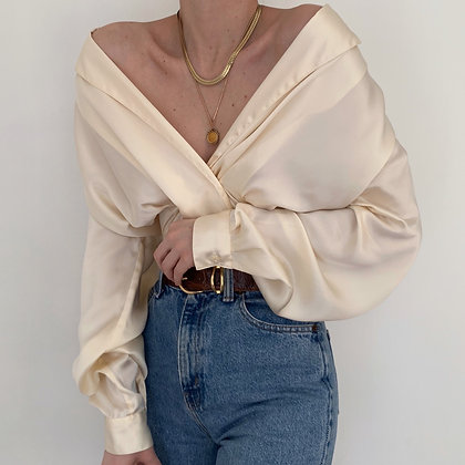Vintage Ivory Silk Double-Breasted Blouse