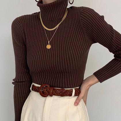 Vintage Coffee Ribbed Knit Turtleneck