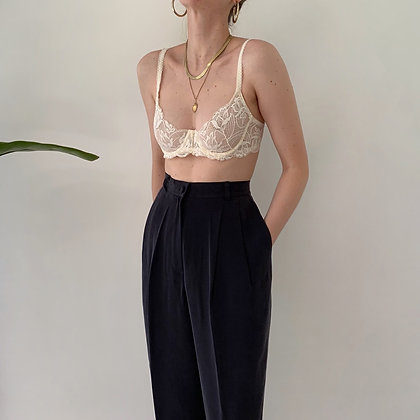Deadstock Vintage Onyx Silk Trousers (28W)