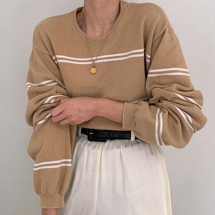 Vintage Izod Camel Striped Pullover
