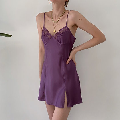 Vintage Victoria's Secret Plum Satin Slip Dress