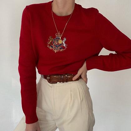 Vintage Ralph Lauren Cherry Crest Knit Sweater