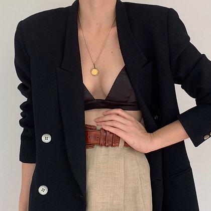 Vintage Black Wool Double-Breasted Blazer