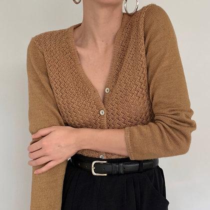 Vintage Camel Textured Knit Cardigan