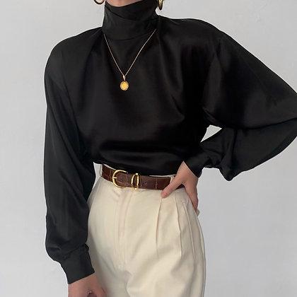 Deadstock Vintage Noir Silk Mock Neck Blouse