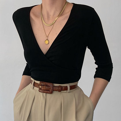 Essential Vintage Noir Slinky V-Neck Wrap Top