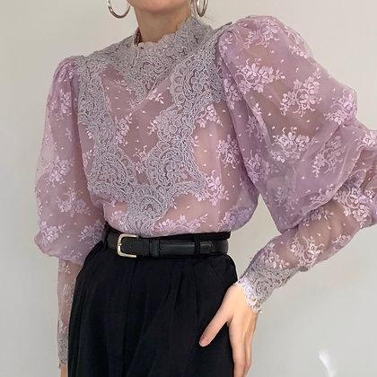 Rare Vintage Lilac Mutton Sleeve Blouse