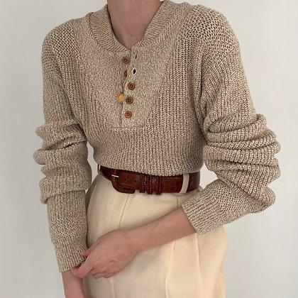 Favorite Vintage Oat Knit Henley Sweater