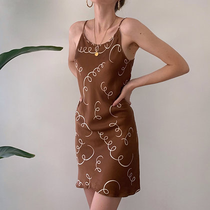 Vintage Cocoa Spring Print Silk Dress