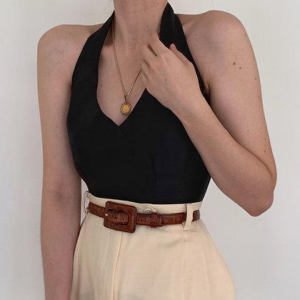 Vintage Noir Silk Halter Back Bowtie Top