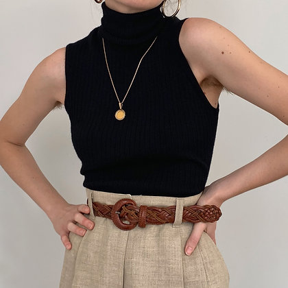 Vintage Anne Klein Black Sleeveless Turtleneck