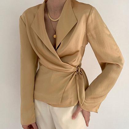 Vintage Gold Silk Draped Wrap Blouse