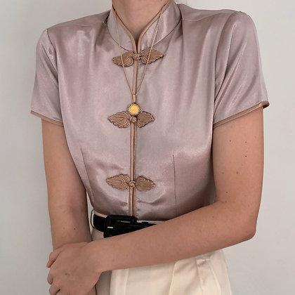 Vintage Taupe Satin Mandarin Collar Blouse