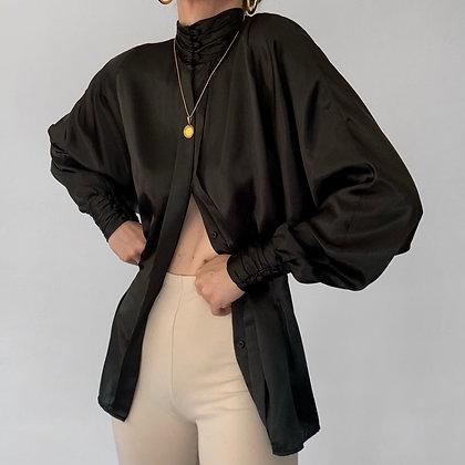 Vintage Noir Satin Bishop Sleeve Blouse