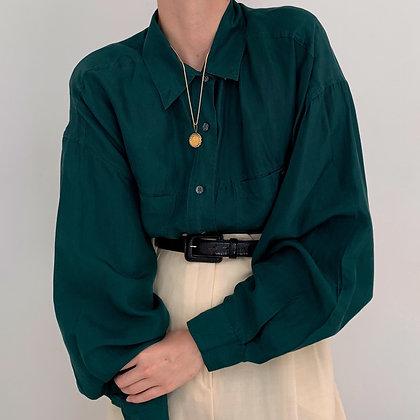 Vintage Evergreen Silk Button Up Blouse