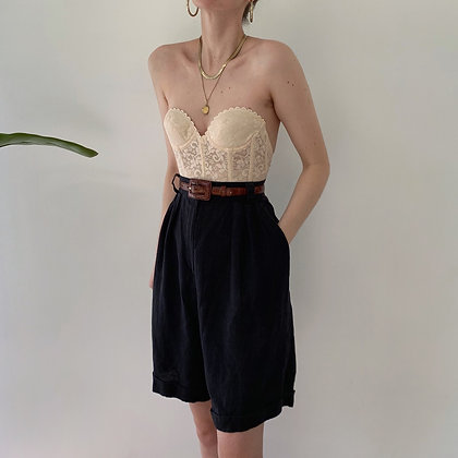 Vintage Onyx Linen High-Waisted Trouser Shorts