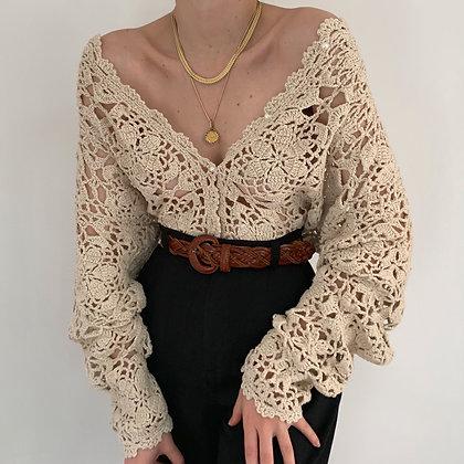 Vintage Oat Crochet Knit Cardigan