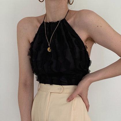Deadstock Vintage Noir Silk Halter Tie-Back Top