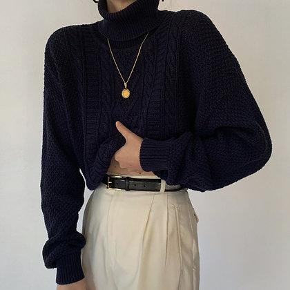 Vintage Navy Cable Knit Turtleneck Sweater