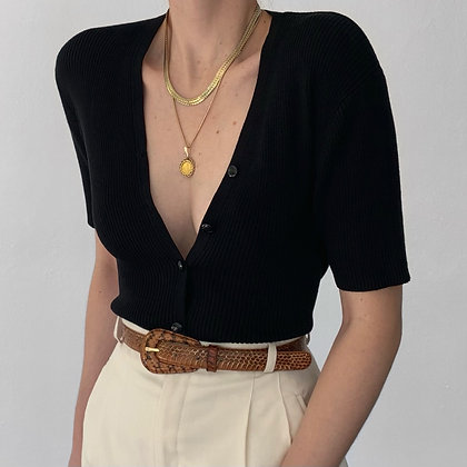 Vintage Noir Silk Ribbed Knit Buttoned Top
