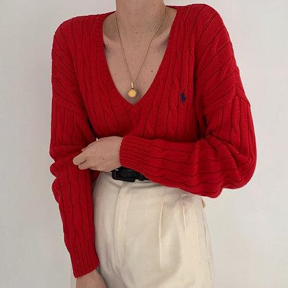 Vintage Ralph Lauren Poppy Cable Knit Sweater