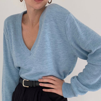 Vintage Sky Blue V-Neck Pullover Sweater